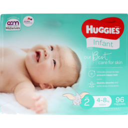 Photo of Huggies Ultimate Nappies Unisex Size 2 Infant 96pk