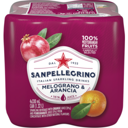 Photo of Sanpellegrino Italian Sparkling Drinks Melograno E Arancia (Pomegranate & Orange) 4 X 330ml Cans
