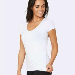 Photo of BOODY BAMBOO Womens V-neck T-shirt White M