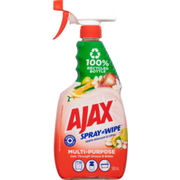 Photo of Ajax Spray N' Wipe Multipurpose Antibacterial Disinfectant Cleaner Trigger Spray Recycled Bottle Apple Citrus 500ml