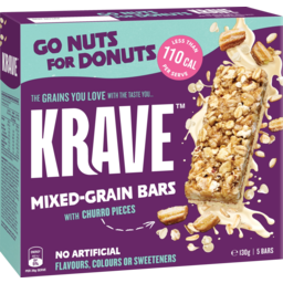 Photo of Krave Go Nuts For Donuts Mixed Grain Bars With Churro Pieces 5 Pack 130g