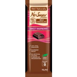Photo of Well Naturally Nsa Milk Chocolate Sweet Raspberry 45g