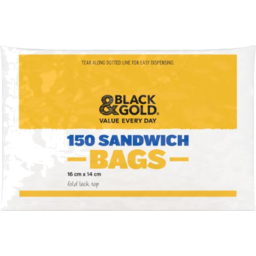 Photo of Black & Gold Sandwich Bags 150s