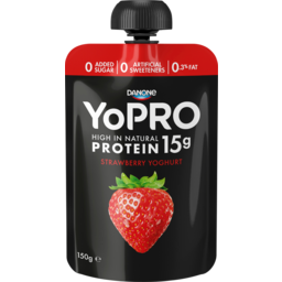 Photo of Danone Yopro High In Natural Protein Strawberry Yoghurt Pouch 150g