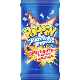 Photo of Poppin Microwave Popcorn Triple Butter Flavour Explosion 100gm