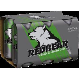 Photo of Red Bear Vodka Lemon & Lime 375ml 6 Pack