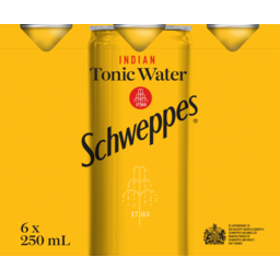 Photo of Schweppes Indian Tonic Water 6 x 250ml Multipack Soft Drink Mini Cans
