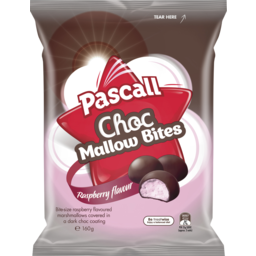 Photo of Pascall Choc Mallow Bites Raspberry 160g