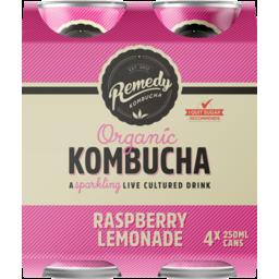Photo of Remedy Organic Kombucha Raspberry Lemonade 4 Pack X 250ml 250ml