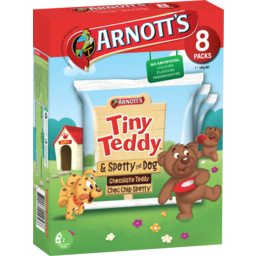 Photo of Arnott's Tiny Teddy Chocolate Teddy & Choc Chip Spotty 8 Pack 184g