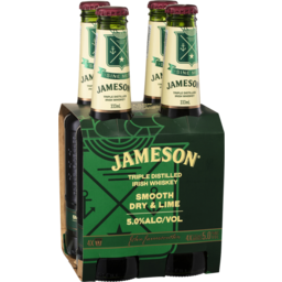 Photo of Jameson Smooth Dry & Lime 333ml 4 Pack