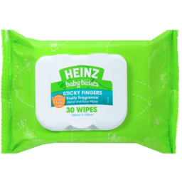 Photo of Heinz Baby Basics Sticky Fingers Hand & Face Wipes Fruity Fragrance 30 Wipes 190mm X 170