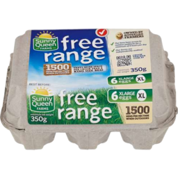 Photo of Sunny Queen Farms Free Range Eggs X-Large 6 Pack 350gm