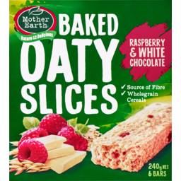 Photo of Mother Earth Baked Oaty Slices Raspberry & White Chocolate 6 Bars 240g