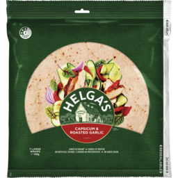 Photo of Helga's Capsicum & Roasted Garlic Wraps Large 7 Pack 490g