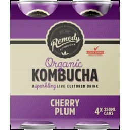 Photo of Remedy Organic Kombucha Cherry Plum 4 Pack X 250ml