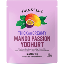 Photo of Hansells Thick & Creamy Mango Passion Yoghurt Mix 220g