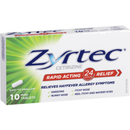Photo of Zyrtec Cetirizine Rapid Acting 24 Hour Relief Hayfever Tablets 10 Pack
