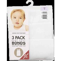 Photo of Bonds Baby Vest White 3pk