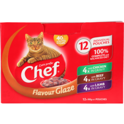 Photo of Chef Cat Food Pouch Variety Glaze 12 Pack