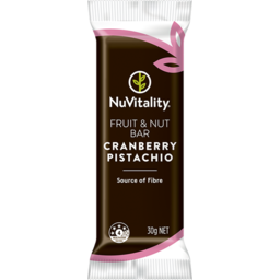 Photo of Nuvitality Bar Cranberry & Pistachio 30g