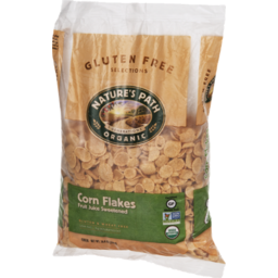 Photo of Nature's Path Organic Gluten Free Selections Cereal Corn Flakes Fruit Juice Sweetened