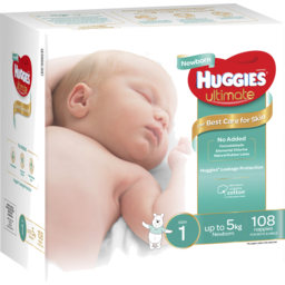 Photo of Huggies Ultimate Newborn Nappies, Unisex, Size 1 Newborn (Up To 5kg), 108 Nappies