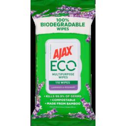 Photo of Ajax Eco Multipurpose Disinfectant Wipes Lavender & Rosemary 110
