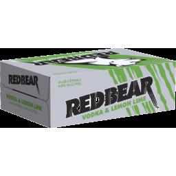 Photo of Red Bear Vodka Lemon & Lime 375ml 24 Pack