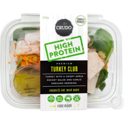 Photo of Crudo High Protein Turkey Club Salad 250g
