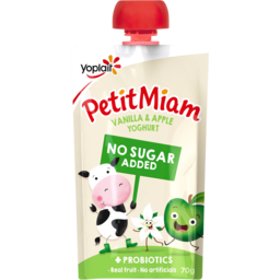 Photo of Yoplait Petit Miam Vanilla & Apple No Added Sugar Yoghurt Squeezie Pouch 70g
