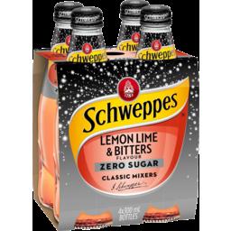 Photo of Schweppes Zero Sugar Lemon Lime & Bitters Bottles 4x300ml