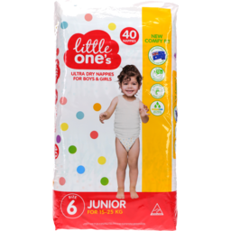 Photo of Little Ones Ultra Dry Nappies Junior Boys & Girls 15-25Kg Size 6 40 Pack