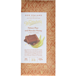 Photo of Whittaker's New Zealand Artisan Collection Creamy Milk Chocolate 33% Cocoa Pear And Manuka Honey 100g
