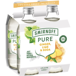 Photo of Smirnoff Pure Ginger, Lime & Soda 300ml 4 Pack