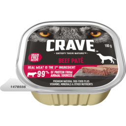 Photo of Crave Wet Dog Food Beef Pate 100g Tray
