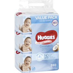 Photo of Huggies Lightly Fragranced Coconut Oil Baby Wipes Value Bundle Pack (3x80 Pk)