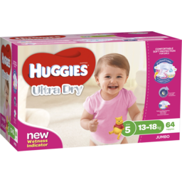 Photo of Huggies Ultra Dry Nappies, Girls, Size 5 Walker (13 - 18kg), 64 Nappies