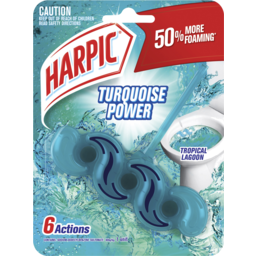 Photo of Harpic Turquoise Power Toilet Block Cleaner Tropical Lagoon 1 Unit