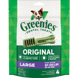 Photo of Greenies Dental Treats Original Large Dog Treats 4 Pack 170g