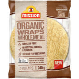 Photo of Mission Organic Wrap Wholemeal 5pk 240g