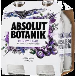 Photo of Absolut Botanik Berry Lime Bottles 4x330ml