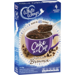 Photo of White Wings Cake In A Cup Mix Choc Brownie 4 Pack 220g