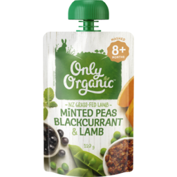 Photo of Only Organic Baby Food Pouch Minted Peas, Blackcurrant & Lamb 9+ Month 120g