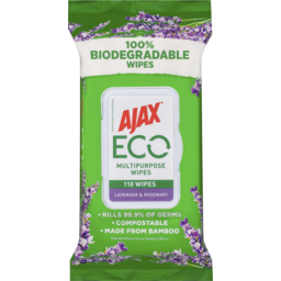 Photo of Ajax Eco Multipurpose Antibacterial Disinfectant Biodegradable Cleaning Wipes Lavender & Rosemary 110 Pack