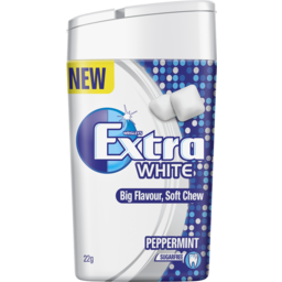 Photo of Wrigley's Extra Soft Chew White Peppermint Chewing Gum Sugar Free Bottle 10 Piece 22g