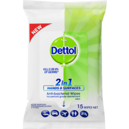 Photo of Dettol 2 In 1 Hands And Surfaces Antibacterial Wipes 15pk