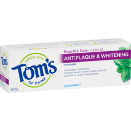 Photo of Tom's Of Maine Natural Fluoride Free Antiplaque & Whitening Toothpaste No Artificial Flavours Peppermint 113g