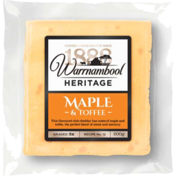 Photo of Warnambool Heritage Maple & Toffee Club Cheddar 200gm