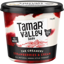 Photo of Tamar Valley The Creamery Strawberries & Cream Greek Style Yoghurt 700g